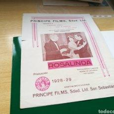 Cine: PROGRAMA GUIA DE CINE MUDO ROSALINDA. CON PUBLICIDAD. AÑOS 20. Lote 89398200