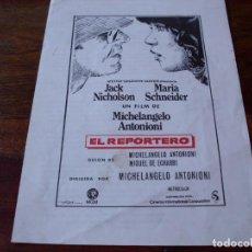 Cine: EL REPORTERO - JACK NICHOLSON, MARIA SCHNEIDER - DIR. MICHELANGELO ANTONIONI - GUIA C.I.C . Lote 91938400