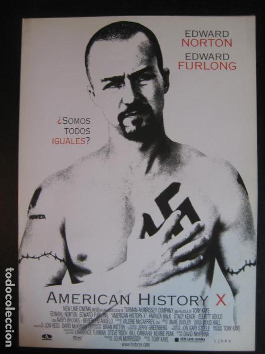 FOLLETO A4 DESPLEGABLE PROMOCIONAL AMERICAN HISTORY X EDWARD NORTON (Cine - Guías Publicitarias de Películas )