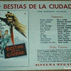 Cine: BESTIAS DE LA CIUDAD, GUIA DE 4 PG. CON SU PROGRAMA DE MANO, IMPORTANTE LEER DESCRIPCION Y ENVIO. Lote 93083470