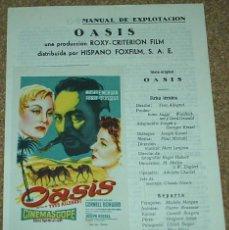 Cine: OASIS, GUIA DE 4 PG. CON SU PROGRAMA DE MANO- IMPORTANTE LEER TODO Y ENVIO. Lote 93083850