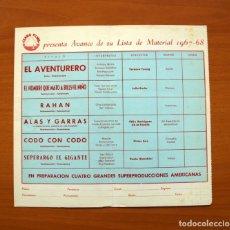 Cine: LISTA DE MATERIAL TEMPORADA 1967-1968 - IZARO FILMS - EL AVENTURERO, RAHAN, ETC.... Lote 97191407