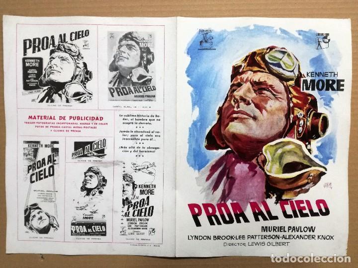 GUIA PUBLICITARIA PELICULA CINE ESTRENO CARTEL AÑOS50 PROA AL CIELO KENNETH MORE DIPTICO (Cine - Guías Publicitarias de Películas )