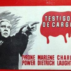 Cine: TESTIGO DE CARGO BILLY WILDER MARLENE DIETRICH TYRONE POWER AGATHA CHRISTIE GUIA MUY RARA. Lote 97989503