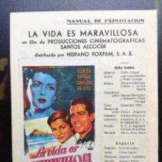 Cine: LA VIDA ES MARAVILLOSA - GUIA DOBLE + PROGRAMA MANO ORIGINAL - VER FOTOS. Lote 97989823