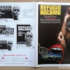 Cine: REFUGIO MACABRO GUIA PUBLICITARIA ORIGINAL DE ESTRENO PETER CUSHING MAC. Lote 100391627