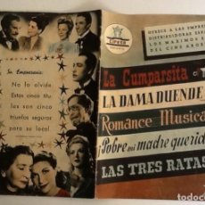 Cinema: GUÍA CIFESA, 5 FILMS ARGENTINOS: LA CUMPARSITA, LA DAMA DUENDE, ROMANCE MUSICAL, LAS TRES RATAS.... Lote 104910395