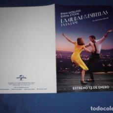 Cinema: LA LA LAND. LA CIUDAD DE LAS ESTRELLAS. GUIA PUBLICITARIA DOBLE. ORIGINAL.MAGNIFICO ESTADO.NUEVO.. Lote 109123095