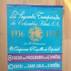 Cine: B1--LISTA DE MATERIAL TEMPORADA 1936/37 COLUMBIA FILM. Lote 109558623