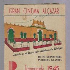 Cine: GUIA PUBLICITARIA. UBRIQUE. GRAN CINEMA ALCAZAR. TEMPORADA 1946. PUBLICIDAD Y PROGRAMA DE CINE. VER. Lote 110300419