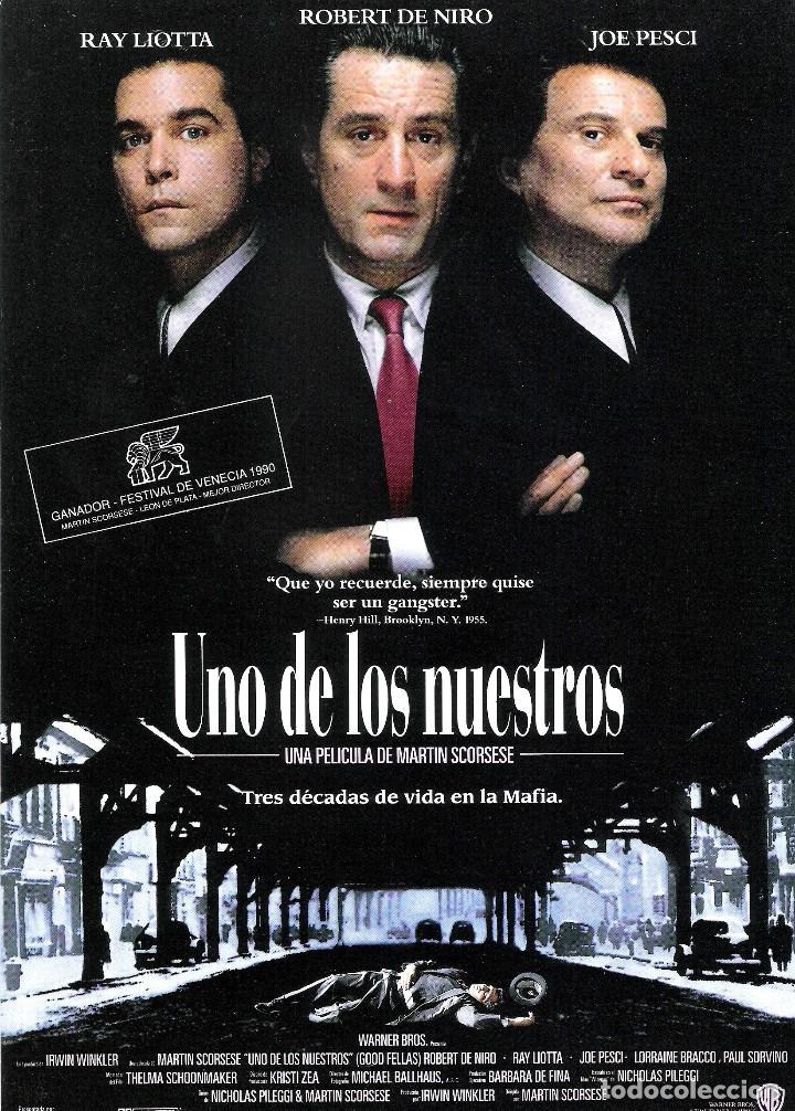 GUIA ORIGINAL SENCILLA UNO DE LOS NUESTROS (ROBERT DE NIRO-JOE PESCI-RAY LIOTTA) (Cine - Guías Publicitarias de Películas )