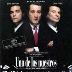 Cine: GUIA ORIGINAL SENCILLA UNO DE LOS NUESTROS (ROBERT DE NIRO-JOE PESCI-RAY LIOTTA). Lote 112401487