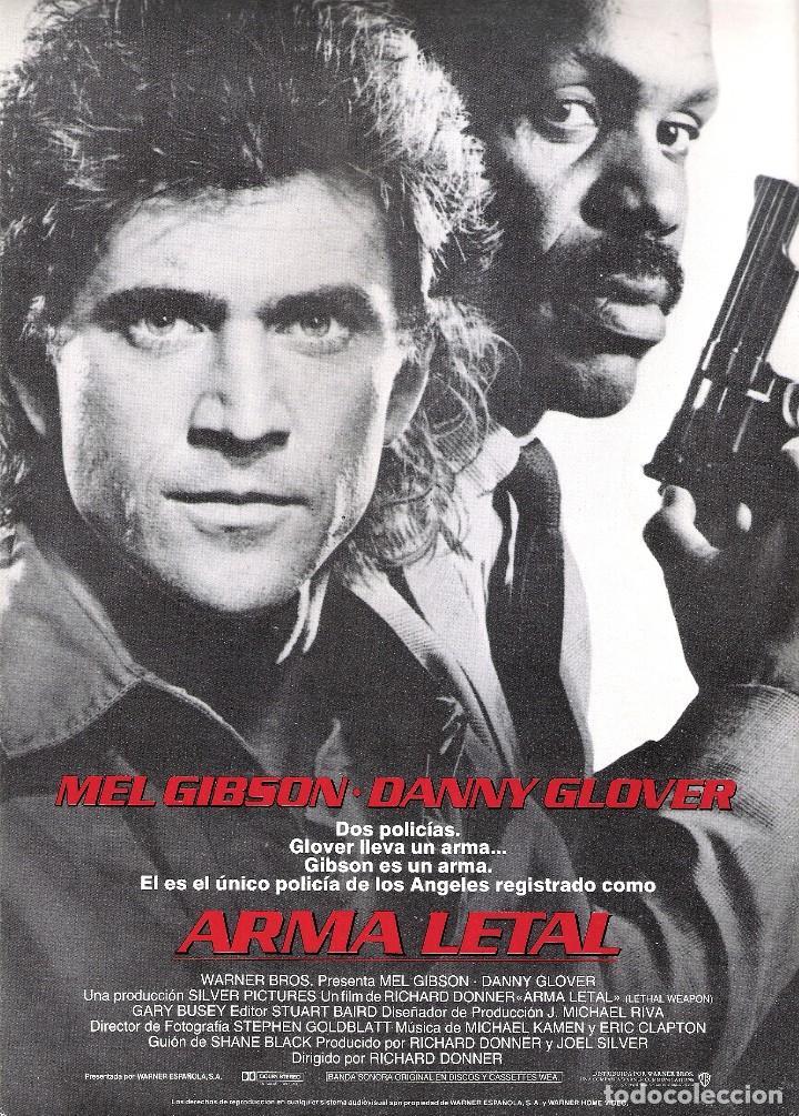 GUIA ORIGINAL SENCILLA ARMA LETAL (MEL GIBSON Y DANNY GLOVER) (Cine - Guías Publicitarias de Películas )