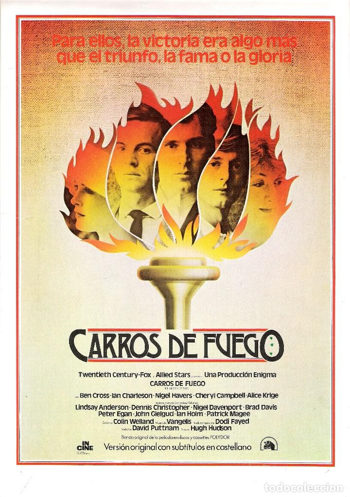 GUIA ORIGINAL SENCILLA CARROS DE FUEGO (BEN CROSS) (Cine - Guías Publicitarias de Películas )