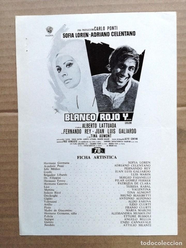BLANCO ROJO Y ADRIANO CELENTANO SOFIA LOREN GUIA PUBLICITARIA ORIGINAL ESTRENO (Cine - Guías Publicitarias de Películas )
