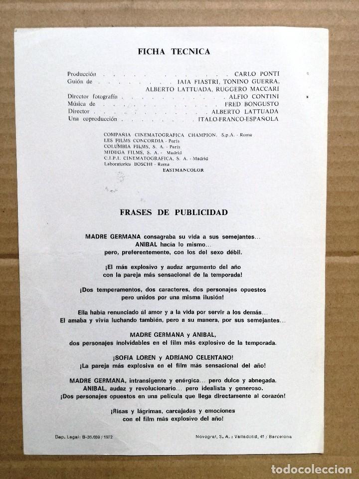 Cine: BLANCO ROJO Y ADRIANO CELENTANO SOFIA LOREN GUIA PUBLICITARIA ORIGINAL ESTRENO - Foto 2 - 112717267
