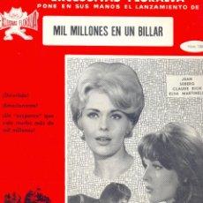 Cine: MIL MILLONES EN UN BILLAR. GUIA ORIGINAL ESTRENO.. Lote 113770947
