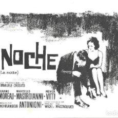 Cine: G8535 LA NOCHE MICHELANGELO ANTONIONI JEANNE MOREAU MASTROIANNI VITTI GUIA ORIGINAL CB FILMS ESTRENO. Lote 114810667