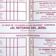 Cine: LISTA DE MATERIAL INCINE 1983-EL RETORNO DEL JEDI,EL HOMBRE DEL RIO NEVADO,THE STAR CHAMBER. Lote 115072539