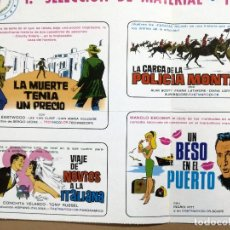 Cine: LISTA DE MATERIAL 1967-66.LA MUERTE TENIA UN PRECIO,LA CARGA DE LA POLICIA MONTADA..UN BESO PUERTO. Lote 115073427