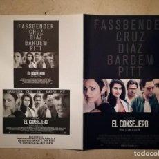 Cine: GUIA ORIGINAL DOBLE -A4- EL CONSEJERO - PENELOPE CRUZ - RIDLEY SCOTT - MICHAEL FASSBENDER. Lote 115633963