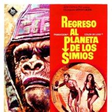 Cinéma: REGRESO AL PLANETA DE LOS SIMIOS (GUÍA ORIGINAL SIMPLE ESTRENO EN ESPAÑA) JAMES FRANCISCUS. Lote 115945459