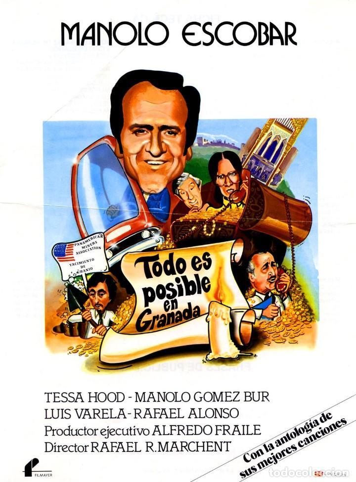 TODO ES POSIBLE EN GRANADA (GUÍA ORIGINAL SIMPLE ESTRENO EN ESPAÑA) MANOLO ESCOBAR MANOLO GOMEZ BUR (Cine - Guías Publicitarias de Películas )