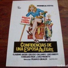 Cine: CONFIDENCIAS DE UNA ESPOSA ALEGRE - MONICA VITTI, CLAUDINE AUGER - GUIA HISPAMEX AÑO 1976. Lote 120144039