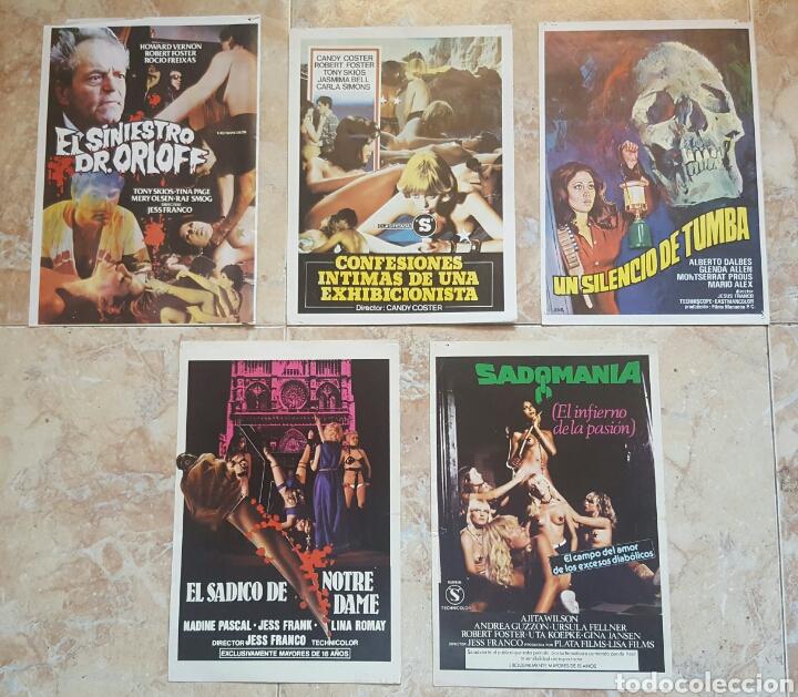 LOTE DE 5 GUÍAS PUBLICITARIAS DE PELICULAS DE JESS FRANCO (SADOMANIA, ORLOFF, SÁDICO NOTRE DAME...) (Cine - Guías Publicitarias de Películas )