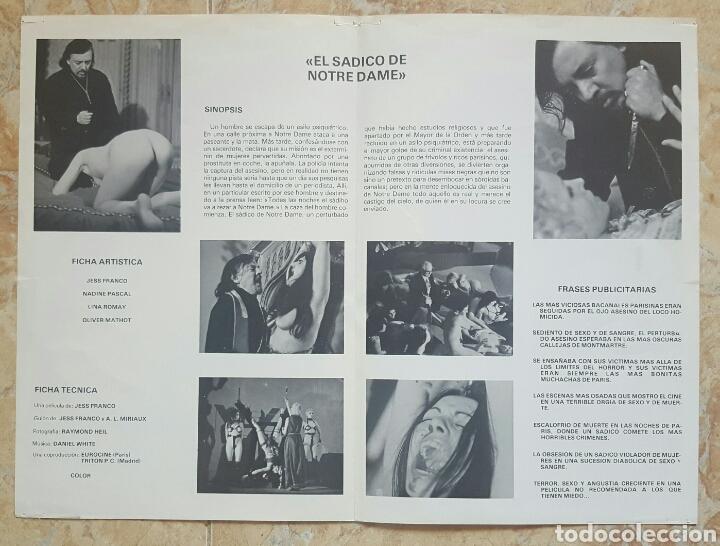 Cine: LOTE DE 5 GUÍAS PUBLICITARIAS DE PELICULAS DE JESS FRANCO (Sadomania, Orloff, Sádico Notre Dame...) - Foto 5 - 120754120