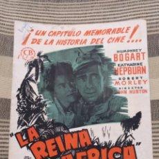 Cine: LA REINA DE ÁFRICA. DOS HOJAS. TAMAÑO FOLIO. HUMPHREY BOGART KATHARINE HEPBURN. Lote 121414074