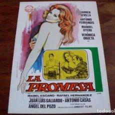 Cine: LA PROMESA - CARMEN SEVILLA, ANTONIO FERRANDIS, MANUEL OTERO - GUIA ORIGINAL IZARO FILMS - JANO. Lote 133250922