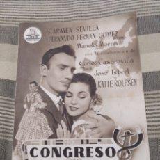 Cine: CONGRESO EN SEVILLA. TAMAÑO FOLIO DESPLEGABLE FERNÁN GOMEZ CARMEN SEVILLA. Lote 121439140