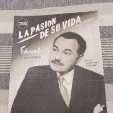Cine: LA PASIÓN DE SU VIDA. EDWARD G. ROBINSON. Lote 121885238