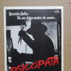 Cine: PSICOPATA GUIA PUBLICITARIA ORIGINAL ESTRENO - KLAUS KINSKI CRAIG WASSON. Lote 122013751