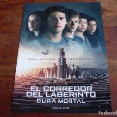 Cine: EL CORREDOR DEL LABERINTO LA CURA MORTAL - DYLAN O'BRIEN, PATRICIA CLARKSON - GUIA ORIGINAL FOX. Lote 148227736