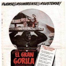Cine: EL GRAN GORILA, CON TERRY MOORE. 56,5 X 41 CM. Lote 122472031