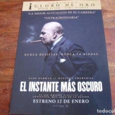 Cine: EL INSTANTE MAS OSCURO - GARY OLDMAN, KRISTIN SCOTT THOMAS, LILY JAMES - GUIA ORIGINAL - . Lote 148227868