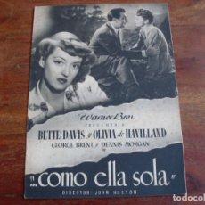 Cine: COMO ELLA SOLA - BETTE DAVIS, OLIVIA DE HAVILLAND - DIR. JOHN HUSTON - GUIA ORIGINAL WARNER 1948. Lote 123737695