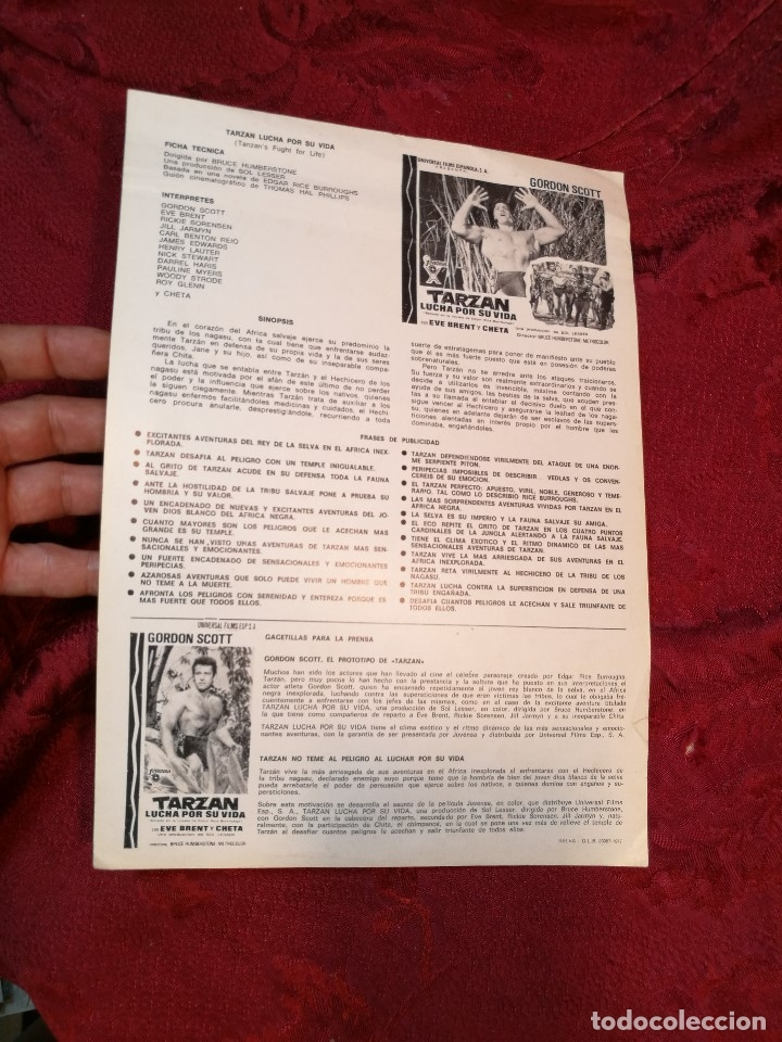 Cine: TARZAN LUCHA POR SU VIDA. GORDON SCOTT. AÑO 1977.GACETILLA UNIVERSAL FILMS ESPAÑOLA - Foto 4 - 126188167