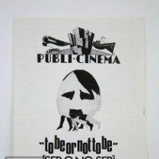 Cine: GUÍA PUBLICITARIA PUBLI-CINEMA - SER O NO SER - ERNST LUBISTCH / CAROLE LOMBARD - DANONE - AÑO 1970. Lote 126361775