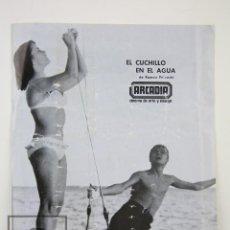 Cine: GUÍA PUBLICITARIA ARCADIA - EL CUCHILLO EN EL AGUA - ROMAN POLANSKI - DISCENTRO, 1968. Lote 126453903