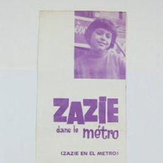 Cine: GUÍA PUBLICITARIA SAVOY - ZAZIE DANS LE MÉTRO - LOUIS MALLE - BARCINO FILMS, 1968. Lote 126454455