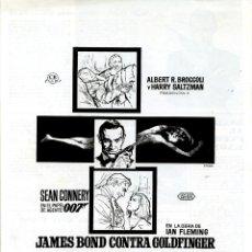 Cine: GOLDFINGER 1964 (GUÍA ORIGINAL 4 PAGINAS DE SU ESTRENO EN ESPAÑA) SEAN CONNERY JAMES BOND 007. Lote 127483699