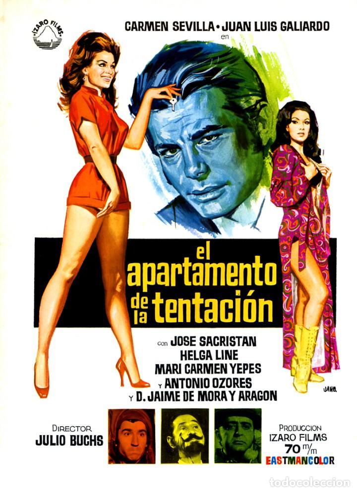EL APARTAMENTO DE LA TENTACIÓN (GUÍA ORIGINAL DOBLE CON FOTOS) CARMEN SEVILLA - HELGA LINE (Cine - Guías Publicitarias de Películas )