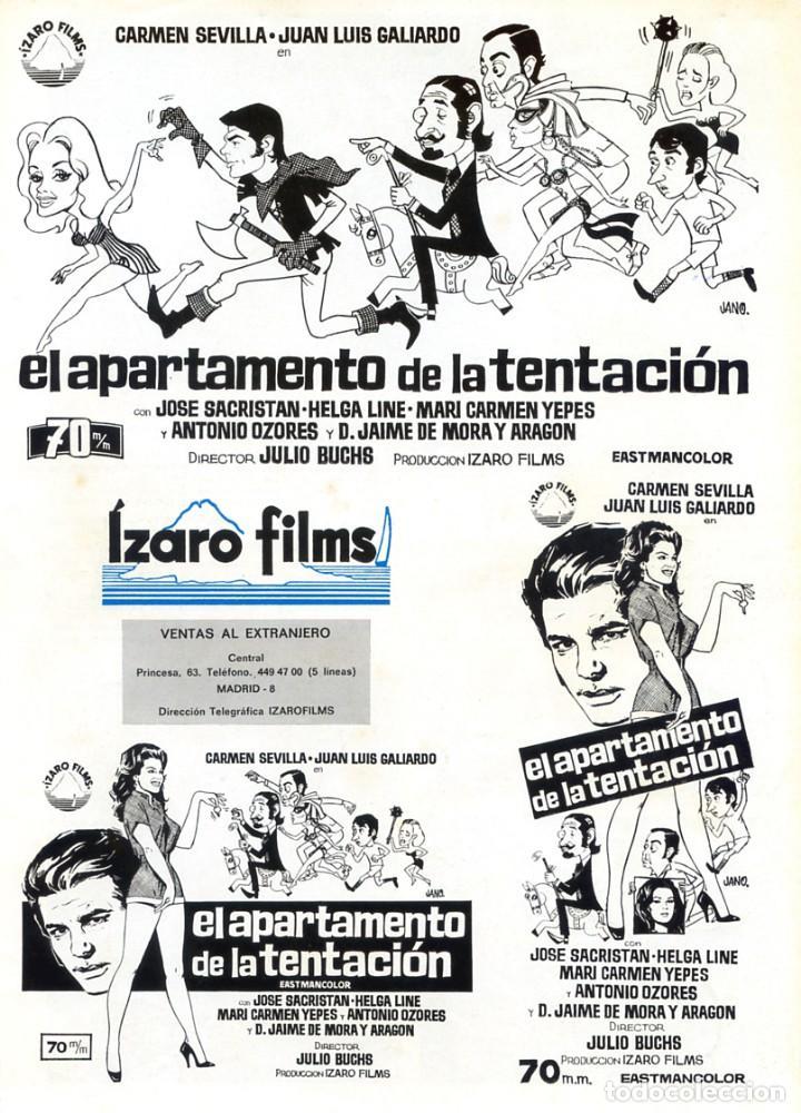 Cine: EL APARTAMENTO DE LA TENTACIÓN (GUÍA ORIGINAL DOBLE CON FOTOS) CARMEN SEVILLA - HELGA LINE - Foto 2 - 234906475