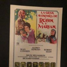 Cine: LA GRAN AVENTURA DE ROBIN Y MARIAN. GUÍA ORIGINAL DE LA PELÍCULA. AUDREY HEPBURN, SEAN CONNERY, .... Lote 129266679