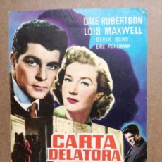 Cine: CARTA DELATORA. DALE ROBERTSON, LOIS MAXWELL. AÑO 1958.GUIA ORIGINAL DEL EXTRENO. Lote 130998064