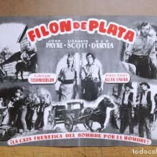 Cine: FILON DE PLATA JOHN PAYNE LIZABETH SCOTT-GUIA ORIGINAL 31X34 CM. Lote 131032864