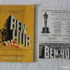 Cine: BEN - HUR. LA CRONICA DE COMO SE REALIZO - RANDOM HOUSE 1959 + FOLLETO DE LA PELICULA. Lote 131190136
